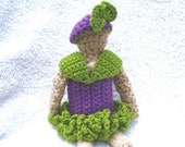 Purple and Apple Green Dress with Matching Pillbox Hat to fit Dolly in Shiny Cotton Yarns