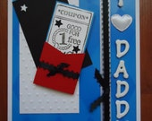 "I love Daddy. Handmade card with ""coupon good for 1 free HUG"", perfect for dad's birthday or Father's Day."