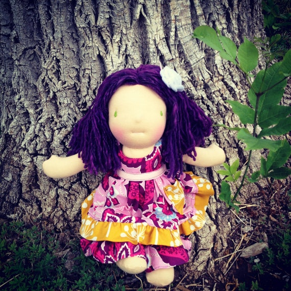 Waldorf inspired Doll- Violet, 12 in. with ears and earrings.