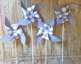 Gray and White Polka Dots - Set of 6 Paper Pinwheels