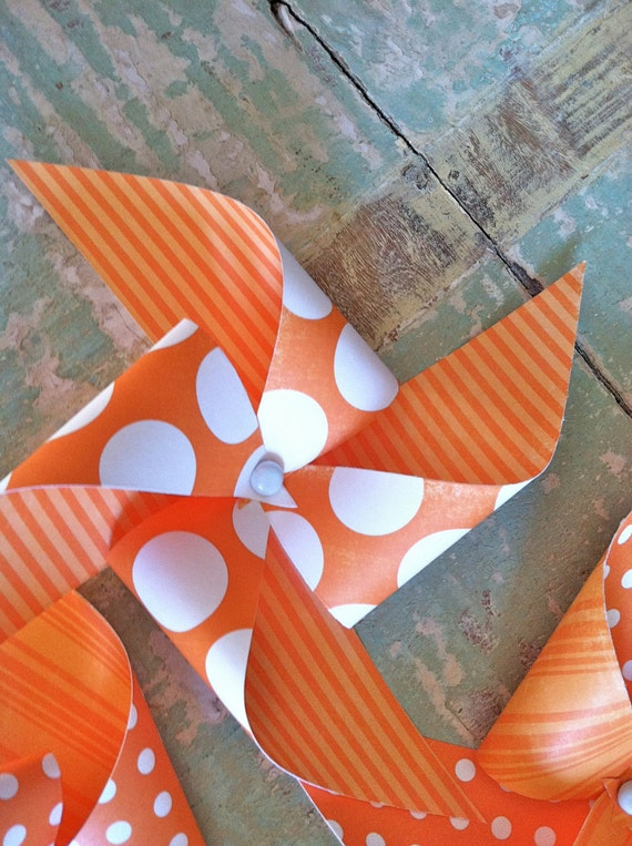 Sunny Delight - Set of 6 Orange and White Polka Dot - tall Pinwheels