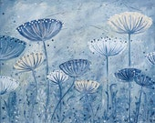 """Large Print of Floral Alliums and Seed Heads 30 """" x 24. Modern Abstract Home Decor in Cream and Blues."""
