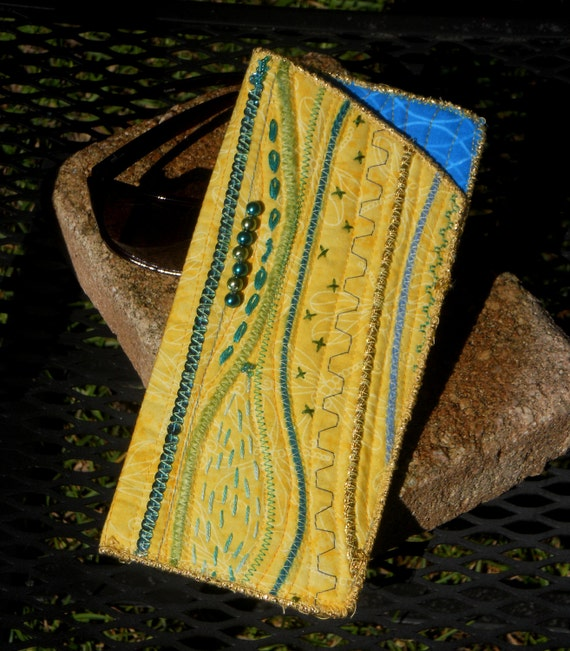 Artfully Stitched Eyeglass Case - Sunny Yellow and Caribbean Blue/Teal