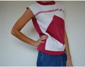Vintage Burgundy Maroon and White Handknitted Sleeveless Sweater Jumper with Diamond Print