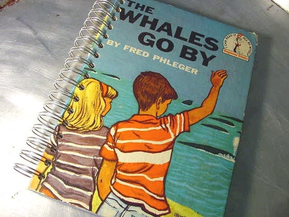 JOURNAL - Sketchbook RECYCLED Upcycled VINTAGE Whales Go By