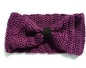 Crochet Headband Ear Warmer - Turban Style, Boysenberry Purple.