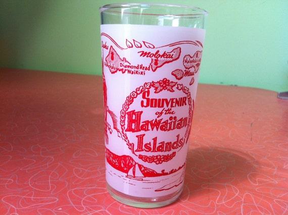 Vintage 1950s Hawaiian souvenir drinking glass Aloha