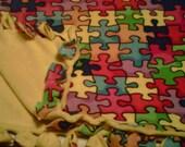 SALE       Autism Awareness Puzzle Piece Blanket Adult Size Hand Tie Blankets