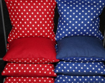 PATRIOTIC American Flag Stars Red White Blue Cornhole Bean Bags ACA Regulation Corn Hole Bags