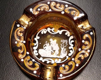 Ashtray Crystal Enamel Bohemian Czech Tobacciana Makeup Addiction
