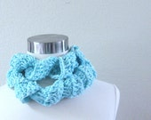 SPRING SUMMER SCARF Ruffled Crochet Scarf // Light Blue Scarves // Cowl, Fall Fashion // Handmade in America, Fashion Accessories
