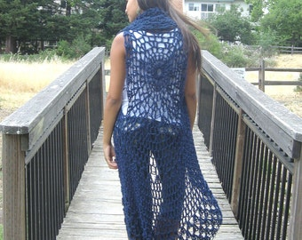 BLUE Maxi BOHO VEST Crochet Long Vest, Cardigan Sweater Poncho Shawl Fit  Any Size Hippie Long Vest Boho Chic Feminine Handmade