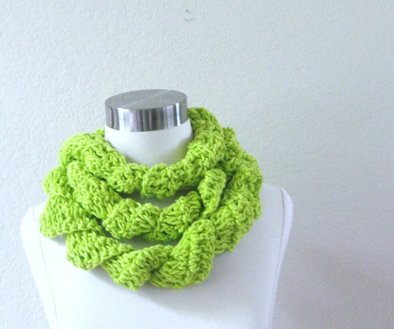 RUFFLED  LIME GREEN Scarf Neon Green  Crochet Accessories Scarves for Women Cotton Scarves Long Scarf Summer Scarf
