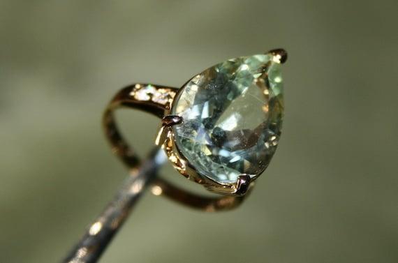 Large Prasiolite Pear Ring ON SALE