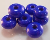Handmade Lampwork Glass Spacer Beads Set - Royal Blue color - 8