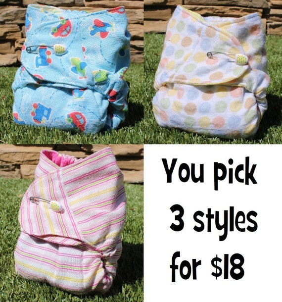 Fitted Cloth Diapers Lot of 3 - You select styles - One size affordable stay dry pin or snappi closure contoured