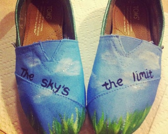 The Sky's the Limit Hand-painted Toms Shoes