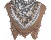 Traditional Turkish Yemeni Cotton Scarf With Crocheted Lace, Brown / Coral Pink / White Floral Pattern