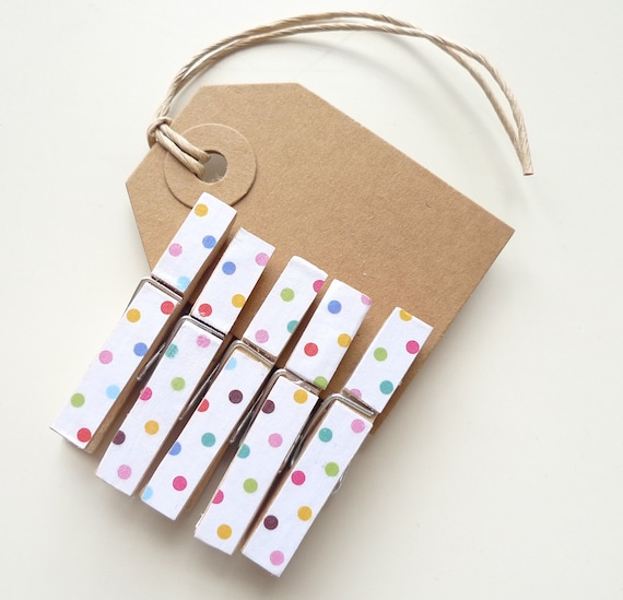 5 x small wooden clothes pegs, white with multi spots