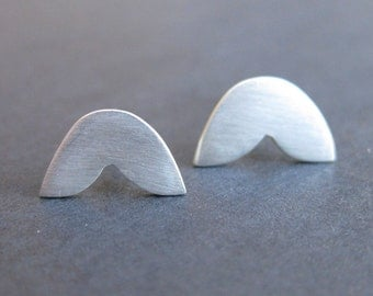 Fish Tail Stud Earrings - Sterling Silver