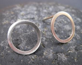 Hoop Stud / Post Earrings - Sterling Silver