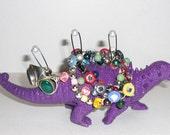"Dinosaur Jewelry Holder ""DinoBlings"" Ring Holder Geekery Jewelry Ankylosaurus Plum Purple Repurposed Toy"