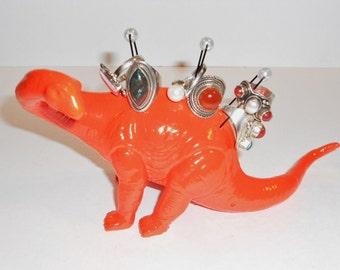 """Dinosaur Jewelry Holder """"DinoBlings"""" Ring Holder Geekery Jewelry Brontosaurus Fluorescent Orange Repurposed Toy"""