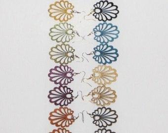 Wooden Earrings Colorful Cut Out Wood Filigree Pierced Earrings