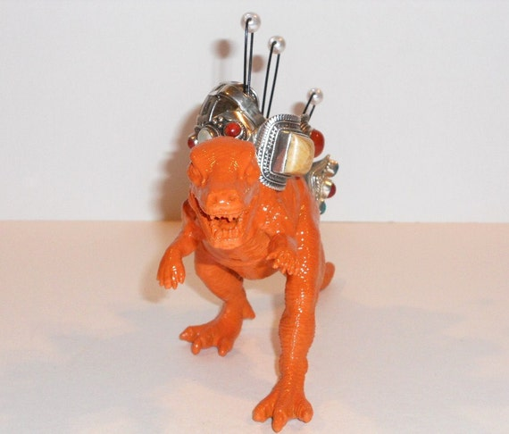 "Dinosaur Jewelry Holder ""DinoBlings"" Ring Holder Geekery Jewelry T Rex Tyrannosaurus Rex Orange Repurposed Toy"