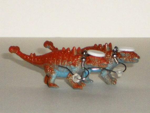 "Dinosaur Earrings  ""DinoLids"" Dinosaur with White Hat Geekery Plastic Toy Dinosaur Repurposed Brown Dinosaur"