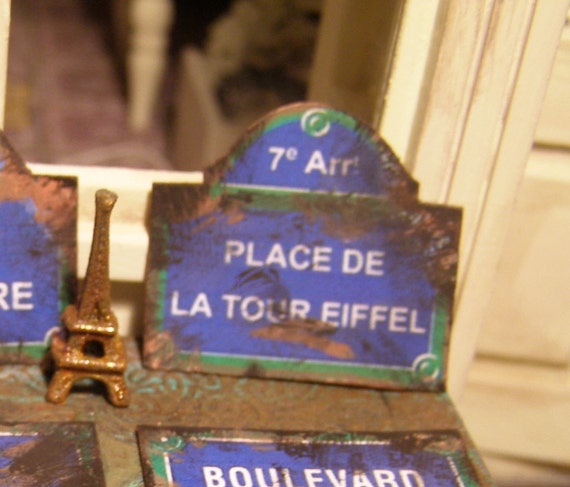 Paris street sign -Place de la Tour Eiffel, Dollhouse miniature, scale 1:12