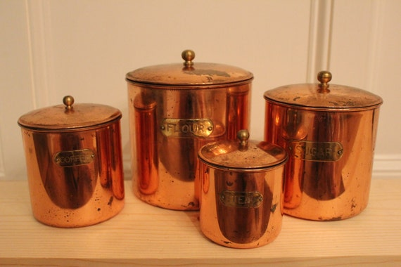 Antique Copper Canister Set