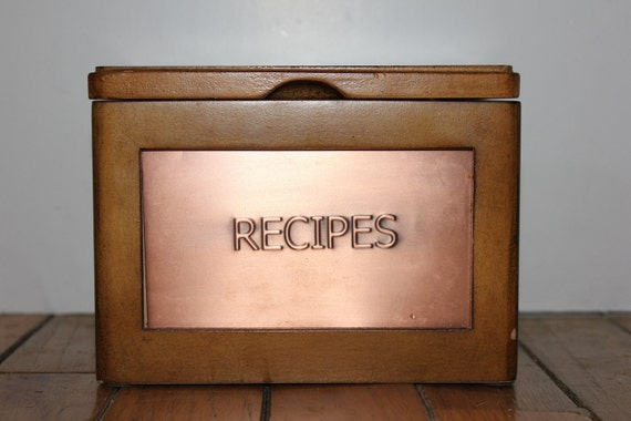 Wooden Recipe Box with Copper Finish Name Plate