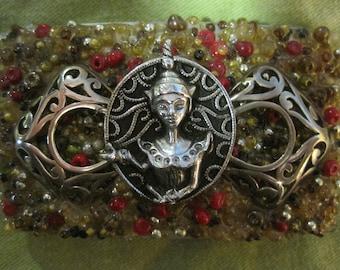 Beaded Beauty, silver and beads,  meditation OOAK belt buckle