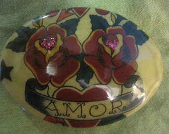 Amor, tattoo print fabric, swavorski crystals, OOAK buckle