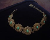 Rare Gorham Art Nouveau  Arts and Crafts Gilt Silver Turquoise Dog Collar Necklace