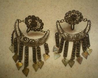 SALE Antique Silver Cannetille Filigree Victorian Chandelier Earrings