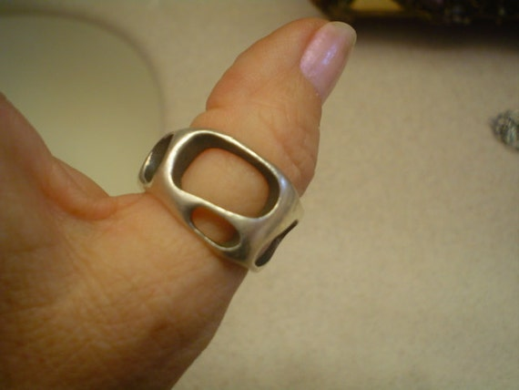 SALE Mid century Modernist abstract Biomorphic Man's ring Sterling