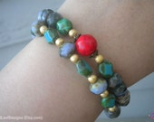 SALE Green Turquoise Arm Candy with Bright Red & Gold with Rosebud Details (Stretchy Bracelet Set)