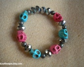 NEW Sparkly Pink & Turquoise Stackable Bracelet, Neon Skulls Arm Candy with Shimmer Faceted Details