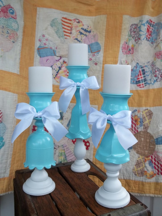 Candle Holders Glass Votive Pillar Tiffany Blue and White Upcycle