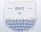 Baby, Baby Burp Cloths Blue Gingham Burp Cloths White Quilted Burp Cloths Eyelet Lace Burp Cloths Hand Embroidered