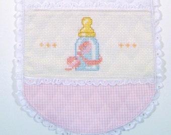 Babies clothing,Burp Cloths for babies, Pink Gingham Burp Cloths White Quilted Burp Cloths Eyelet Lace Burp Cloths Hand Embroidered