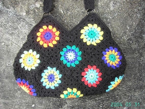 Happy crochet bag, colorful bag, hippie style, boho style, crochet purse
