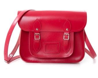 "Leather School Satchel 13"" Red"