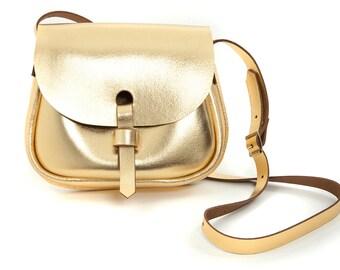 Leather Saddle Bag Gold