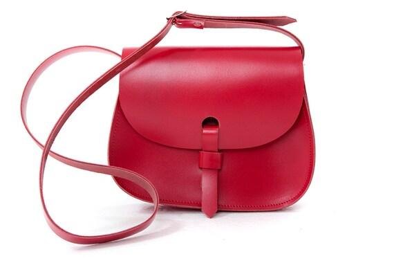 Leather Saddle Bag Red