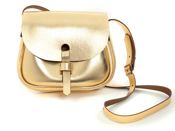 Leather Saddle Bag Gold