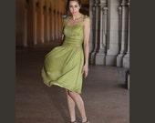 100% Silk dress green summer dress V016 SALE B5019