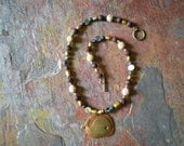 Aloha Whale Necklace, lava and soapstone beads with mother of pearl